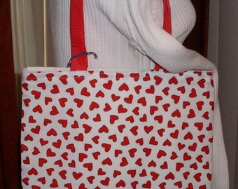 Red and White Hearts Book Tote Bag Heavy Duty Book Bag iPad Tote School Bag Lunch Bag Reversible
