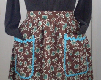 Turquoise Blue and Brown Paisley Vintage Inspired Retro Hostess Apron