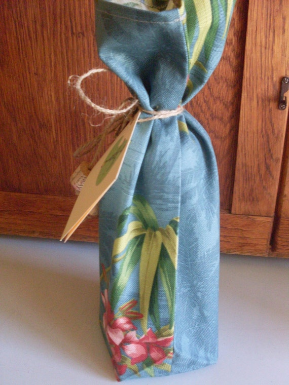Eco Friendly Tommy Bahama Fabric Wine Bottle Gift Bag with Tie and Gift Card