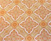 bohemian rhapsody in coral & yellow, a vintage sheet fat quarter