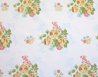 yellow posies, a vintage sheet fat quarter