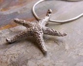 Silver Starfish Necklace, Nature Pendant, Jewelry, Beach Jewelry... Sterling Silver Necklace, Artisan Pendant, Animal Jewelry