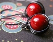 Black and Hot Red Coral Earrings... Copper  and Sterling Silver Artisan Design