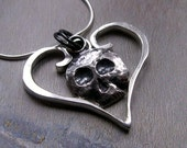 Skull Heart Necklace, Silver Metalwork Pendant, Gothic Jewelry, Dia de los Muertos, Day of the Dead, Gothic Heart