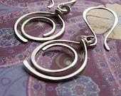 Sterling Silver Earrings, Metalwork Artisan Hoops, Hammered Spiral Earrings
