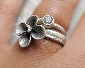 Gemtsone Ring with Sculpted Flower, Stackable Jewel Set,  Sterling Silver Ring, Birthstone Wedding Band, Bridal Jewelry