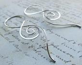 Silver Spiral Earrings, 18g Sterling Silver Design, Twisted Root Earrings
