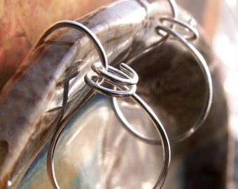 Silver Hoop Earrings, Large Wire wrapped Tribal Style with Coil - Sculpted Artisan Earrings - Sterling Silver