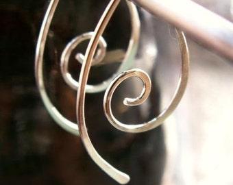 Silver Hoop Earring Spirals - Sterling Metalwork Sculpted Funky, 2 Inch