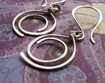 Sterling Silver Earrings, Metalwork Artisan Hoops, Hammered Spiral Earrings
