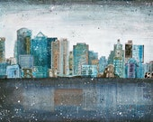 """Dirty Water - 12""""x8"""" paper print - mixed media Boston skyline painting collage, vintage paper blue grey typography urban"""