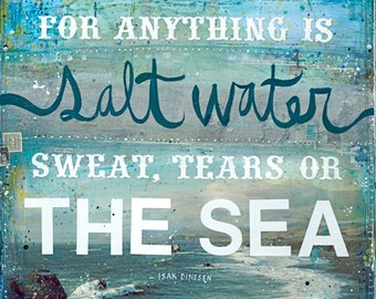 The Cure for Anything is Salt Water | Salt Water Art Print | Ocean Beach Word Art | Hand-Lettered Typography | Ocean Wall Art