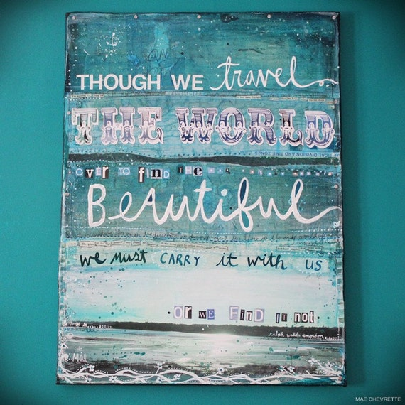 Find The Beautiful - a large original mixed media painting on canvas - serene blues, ocean themes, inspiring words
