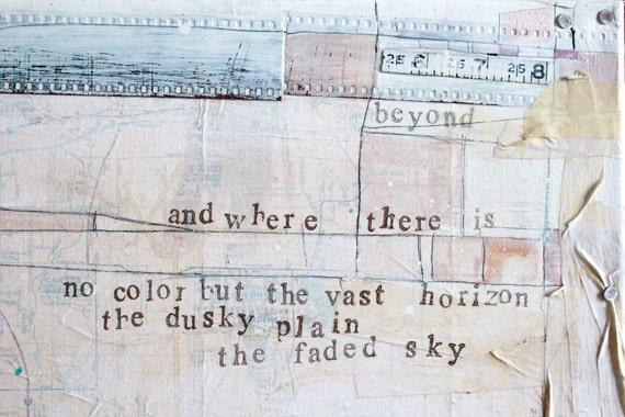 ON SALE Under the Open Sky No. 2 - Original Mixed Media Painting - rustic rural collage typography word art with found vintage paper, text