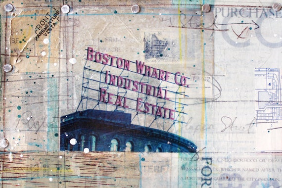 """ON SALE Fort Point Portrait  - 14"""" x 11"""" original mixed media painting - South Boston skyline travel artwork with typography collage"""