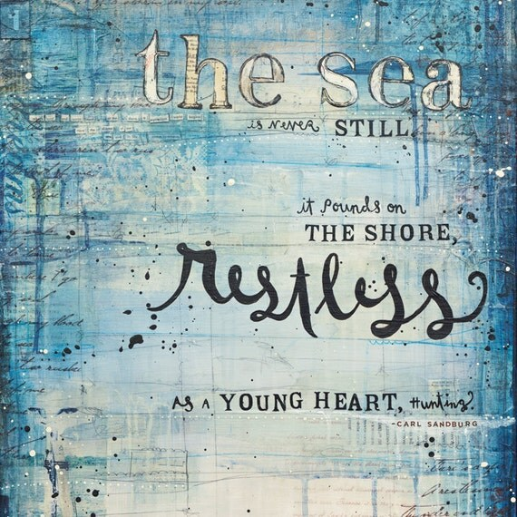 """Young Heart - 36"""" x 18"""" original mixed media painting on canvas - beach collage nautical word art typography text with found paper"""