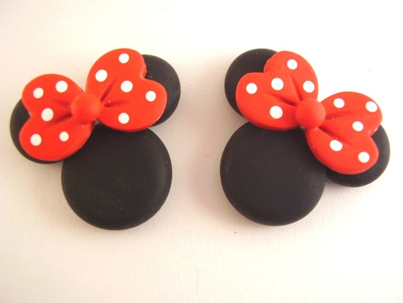 Polymer Clay Bow Centers - Minnie Mouse in Red