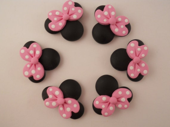 Polymer Clay Beads or Bow Centers - Pink Minnies