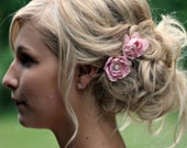 Rose Hair Pin Set with Lace and Pearls