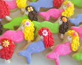 Brunette Mermaid Mini Sugar Cookies- 2 Dozen and Seahorse Mini Cookies- 2 Dozen for Jill in purple, pink, blue and green