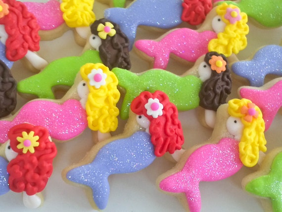 Brunette Mermaid Mini Sugar Cookies- 2 Dozen and Seahorse Mini Cookies- 2 Dozen for Jill in purple, pink, blue and green