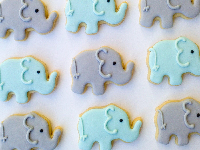 Baby Blue Elephant Mini Sugar Cookies 2 Dozen by acookiejar