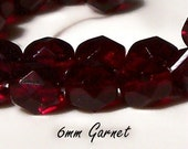 6mm Fire Polished Beads - Garnet