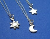 3 Sun Moon Star tiny necklaces sterling silver Charms Set bridesmaids  gift Holidays Women Girl Teen Kids mom for her spring