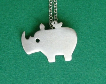 Rhino Necklace Rhino with Tiny Bird Friend Necklace Animal necklace Rhino Charm Necklace Sterling Silver Bird Kids Necklace boy gift for her
