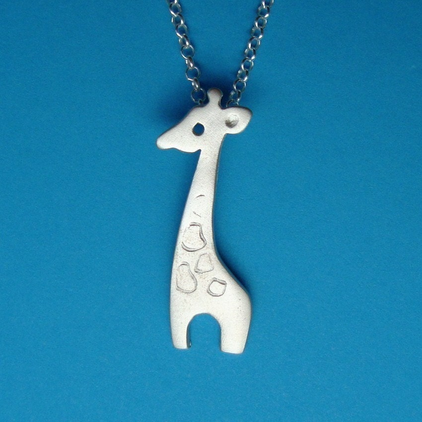 giraffe necklace sterling silver animal pendant by zoozjewelry