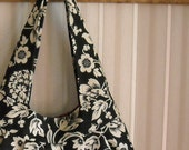 Reserved...shoulder bag...black modern floral