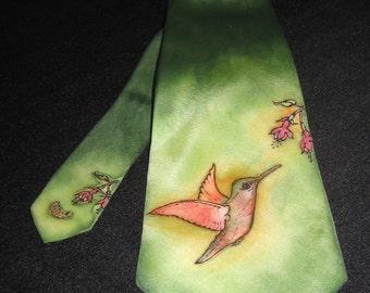 CUSTOM ORDER Hand painted Silk Tie  BeijaFlor (52.00 EUR)