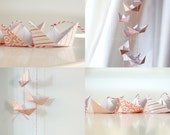 FREE SHIPPING - Love & Luck paper boat garland (Candy sweet line)  - celebration - wedding - mobile - origami