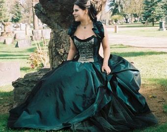 Gothic -Alternative-prom-plus size- custom made-peacock wedding dress-masquerade-halloween-colorado custom wedding gown-the secret boutique