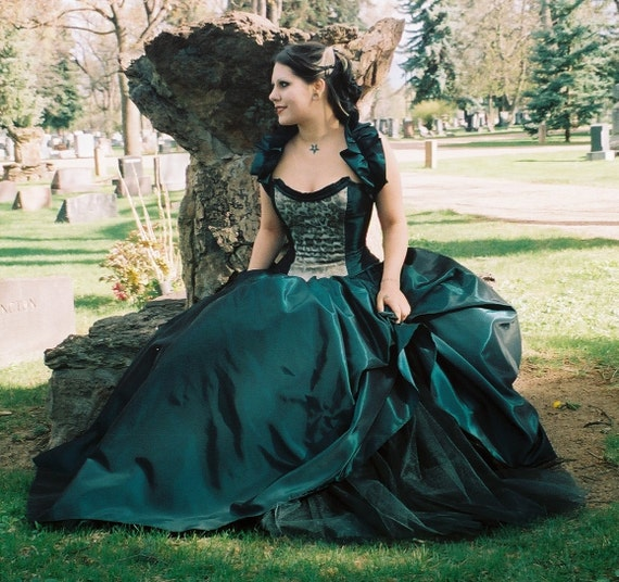 Gothic Alternative-prom-plus Size Custom Made-peacock