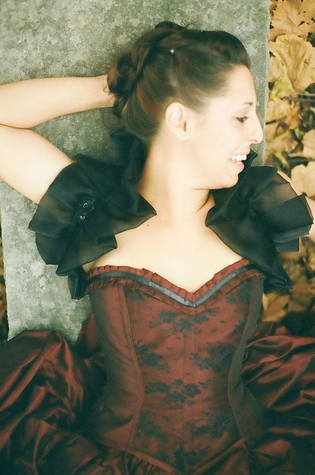 Red Corset Prom Gown Steampunk gothic by thesecretboutique