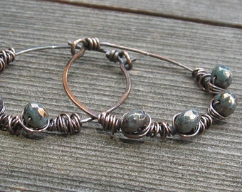Copper Hoops Wrapped with Golden Blue Faceted Glass Beads