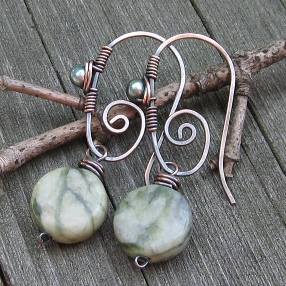 Welcome to the Jungle, Copper and Jungle Jasper Earrings