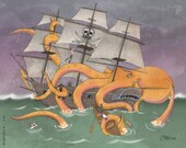 Pirate Ship vs Giant Octopus (8x10)