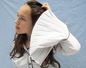 Pleated Sleeve Cotton Blouse