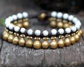 Howlite Brass Bell Bracelet