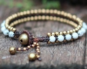 Howlite Bead Brass Bracelet