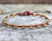Flower Brass Red Anklet