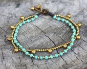 Turquoise Chain Layer Brass Anklet