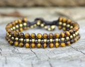 Tiger Eye Flat Brass Bracelet