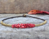 Coral Stone Brass Necklace