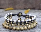 Howlite Brass Bell Dangle Bracelet