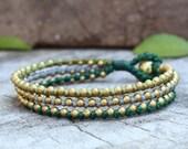 Green Tone Stud Brass Bracelet