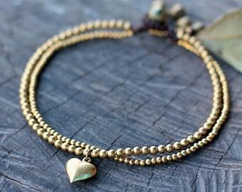 Golden Heart Brass Chain Anklet/ Bracelet