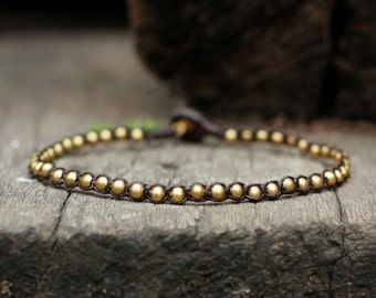 One Line Brass Beads Anklet, simple anklet